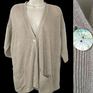 J.Jill Large Beige Linen Short Sleeve Cardigan